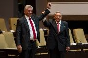 Cuba's new President Miguel Diaz-Canel at the National Assembly with former President Raul Castro.