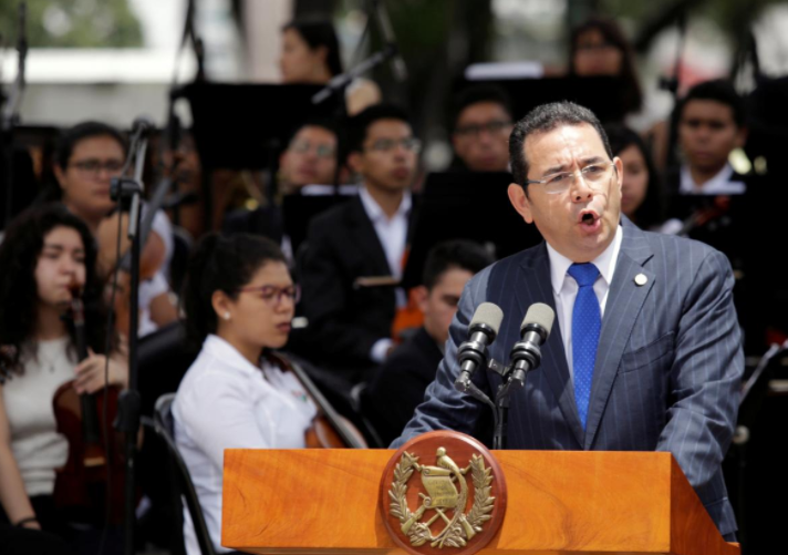 Guatemala's President Jimmy Morales addresses the audience during the inauguration of the Spanish Square in Guatemala City, Guatemala September 12, 2017.