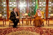 U.S. Secretary of State Mike Pompeo (L) meets Saudi Foreign Minister Adel Al-Jubeir in Riyadh, Saudi Arabia, April 28, 2018.