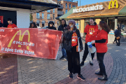 McStrikers in the U.K. are demanding £10 an hour, union rights and guaranteed working hours.