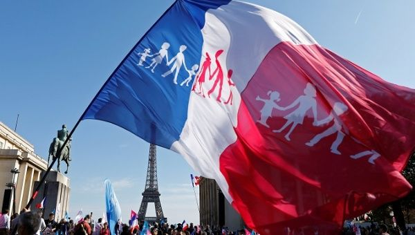 Thousands of people protested in France against same-sex marriage, which some analysts interpreted as a
