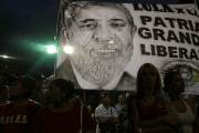 A flag with the image of former Brazilian President Luiz Inacio Lula da Silva is seen during a protest in support of Lula, in Buenos Aires, Argentina, April 11, 2018.