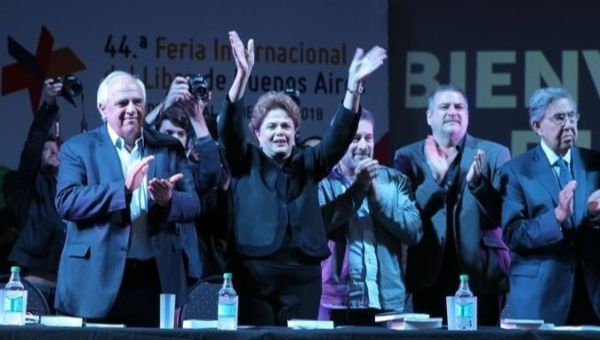 Former Brazilian President Dilma Rousseff speaks at the Buenos Aires Book Fair.