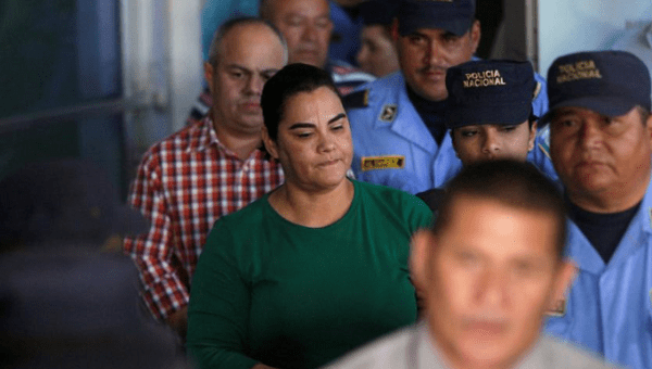 Former first lady Rosa Elena Bonilla de Lobo heads to a court on corruption charges in Tegucigalpa, Honduras February 28, 2018.