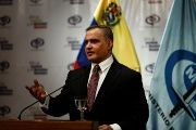 Venezuela's Chief Prosecutor Tarek William Saab talks to the media during a news conference in Caracas, Venezuela, May 3, 2018.
