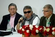 Colombia's Marxist FARC Jesus Santrich (c) speaks during a news conference in Bogota, Colombia November 16, 2017.