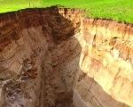 60,000-year-old volcanic soil has been exposed by the sinkhole.