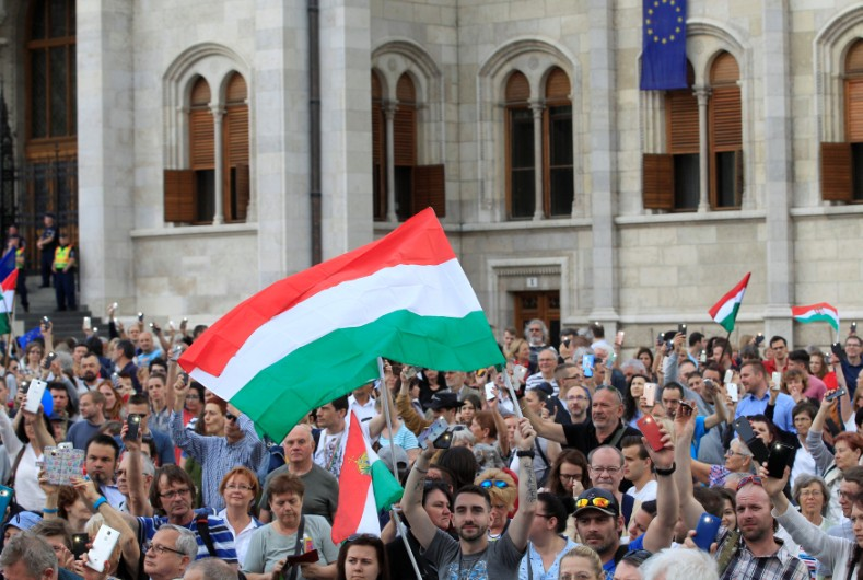 People attend a protest against the government of Prime Minister Viktor Orban in Budapest, Hungary May 8, 2018.