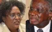 Opposition Leader Mia Mottley, leader of the Barbados Labour Party, and current Barbadian Prime Minister Freundel Stuart, who leads the Democratic Labour Party.