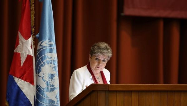 Alicia Barcena, head of ECLAC speaks at the agency