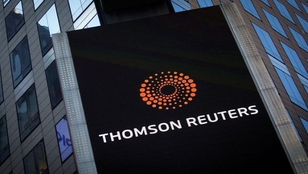 The logo of Thomson Reuters on its building.