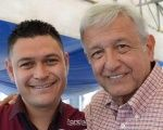 Jose Remedios Aguirre Sanchez (L) with presidential hopeful Andres Manuel Lopez Obrador.