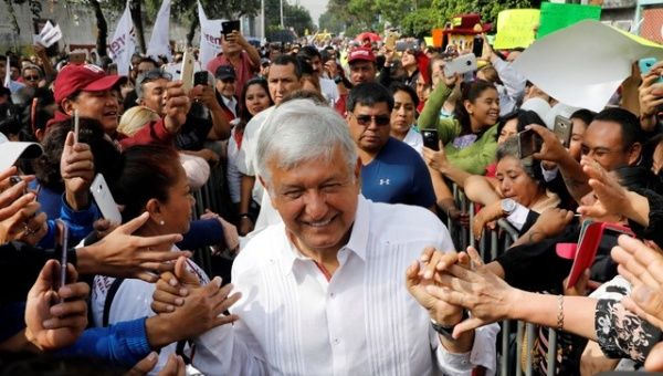 Leftist front-runner Andres Manuel Lopez Obrador of the National Regeneration Movement (MORENA) greets supporters during his campaign rally in Mexico City, Mexico May 2, 2018.