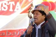 Bolivia's President Evo Morales speaks during May Day celebrations in Oruro, Bolivia, May 1, 2018.