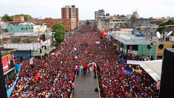 A Nicolas Maduro campaign rally today in Aragua