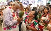 Mexican front-runner Lopez Obrador during a campaign event in Tantoyuca, Veracruz. May 10, 2018.