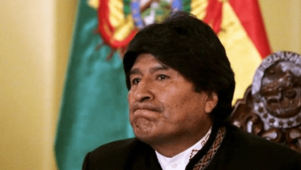 Bolivian President Evo Morales reacts during a speech.