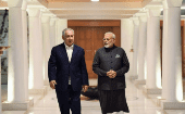 Israeli Prime Minister Benjamin Netanyahu (L) and Indian Prime Minister Narendra Modi (R) seen in January 2018