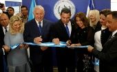 Guatemalan President Jimmy Morales with his wife Hilda Patricia Marroquin and Israeli Prime Minister Benjamin Netanyahu and his wife Sara at the dedication ceremony of the embassy of Guatemala in Jerusalem.