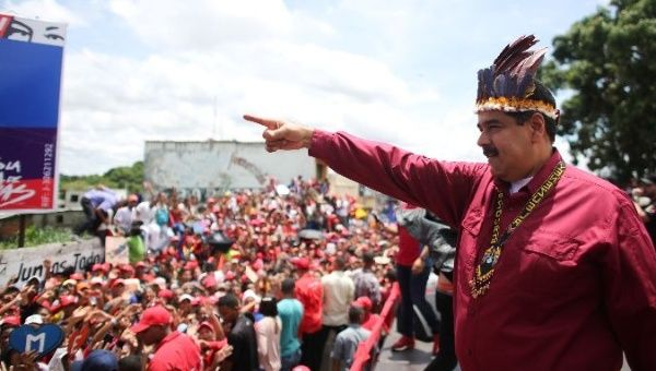 Venezuelan President Nicolas Maduro at a campaign rally.