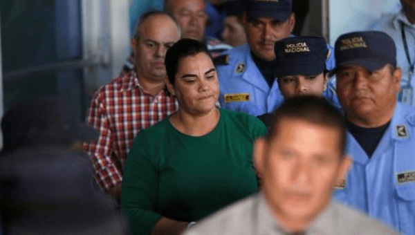 Former first lady Rosa Elena Bonilla de Lobo heading to court on corruption charges in Tegucigalpa, Honduras February... JORGE CABRERA February 28, 2018