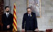 Quim Torra takes his oath as new Catalan Regional President during a ceremony at Generalitat Palace in Barcelona, Spain, May 17, 2018.