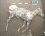 The plaster cast of a military horse whose remains were discovered just outside the ancient walls of Pompeii in Italy.