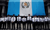 Police stand guard outside Guatemala
