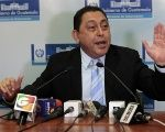 Former Interior Minister Mauricio Lopez Bonilla during his last press conference before resigning. Guatemala City, Guatemala. May 21, 2015.