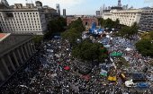 Teachers strike at Plaza de Mayo by the Casa Rosada Presidential Palace in Buenos Aires, Argentina, March 2017.