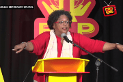 Mia Amor Mottley, Q.C., M.P. at the Community Meeting in St. Thomas.