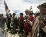Aymara people perform ritual at lake Titicaca.
