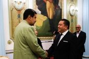 Presdent Nicolas Maduro (L) meets former candidate Javier Bertucci at Miraflores Palace in Caracas, Venezuela.