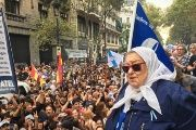 Founder of the Mothers of Plaza de Mayo, Hebe Bonafini, during a demonstration in Buenos Aires.