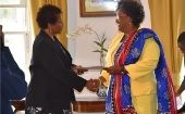 Mia Mottley (Right) Took the Oath of Office Before Governor General Dame Sandra Mason at Government House.