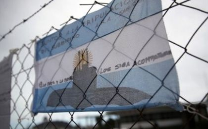 Messages in support of the 44 crew members of the missing ARA San Juan submarine at the Mar del Plata naval base.
