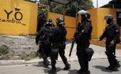 Police officers outside Quezaltepeque jail in El Salvador after the government declared a state of emergency in 2016.