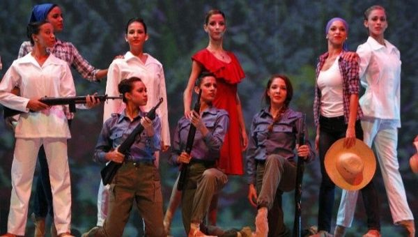 Members of the Ballet Nacional de Cuba perform in honor of revolutionary leader Vilma Espin.