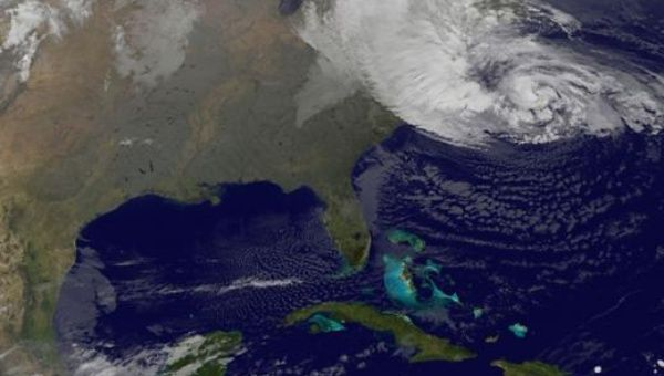 Satellite view of hurricane forming over the U.S. Northeast. November 2012.