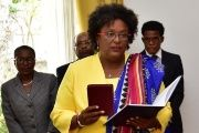 Mia Mottley is the first female Prime Minister of Barbados.
