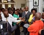 Prime Minister, Mia Mottley, speaking to members of the media at Government House in Bridgetown, Barbados.