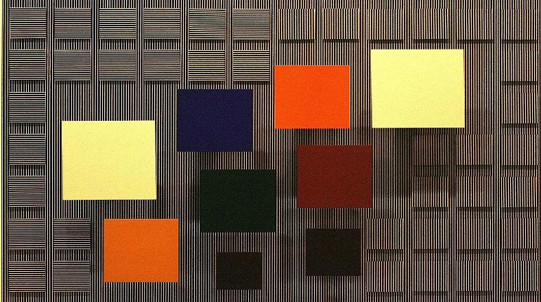 """Los cuadrados sobre blanco y rayado definen un pensamiento de Soto: """"la obra debe ser capaz de suscitar la emoción de quien la contempla e infundir conocimientos""""."""