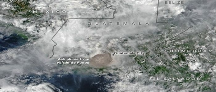 Fuego, one of Central America's most active volcanoes, produced an explosive eruption on June 3 that sent ash billowing 1000s of meters into the air. One of our @NASAEarth satellites captured this image, while another made observations of sulfur dioxide