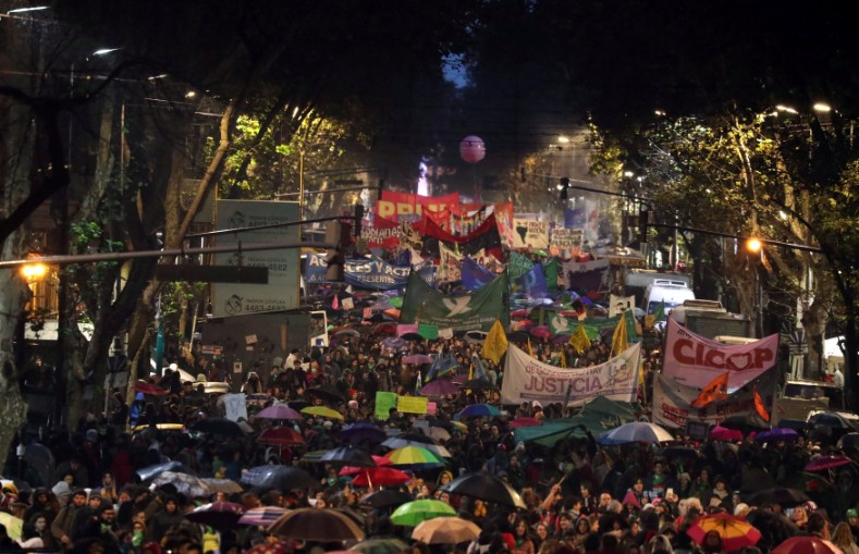 Demonstrators march during a protest against femicides and violence against women in Buenos Aires.