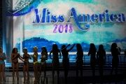 Contestants await the results after the swimsuit component of the 97th Miss America Competition in Atlantic City, New Jersey, September 2017.