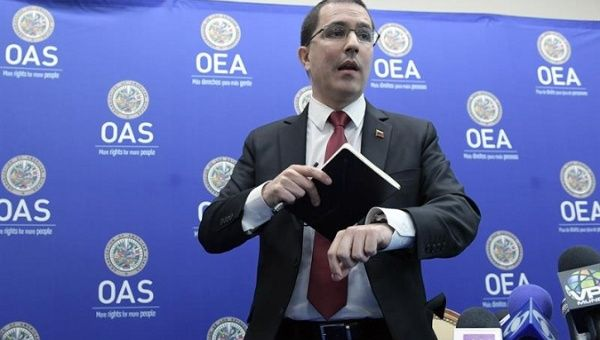 The Venezuelan Foreign Minister Jorge Arreaza during a break from the OAS General Assembly. Washington, D.C., June 4, 2018.