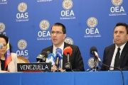 Venezuelan Foreign Affairs Minister Jorge Arreaza speaks to reporters at the headquarters of the OAS in New York.