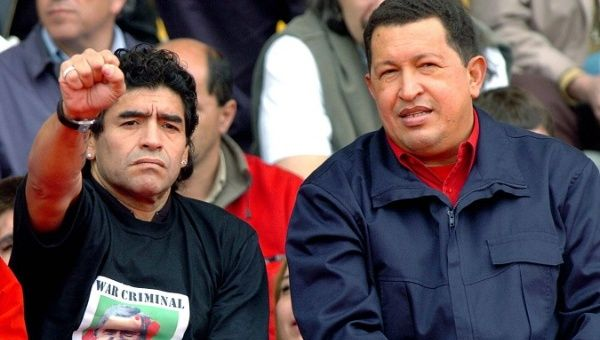 Maradona and Chavez protest the Free Trade Area of the Americas during the 4th Summit of the Americas at Mar de la Plata, Argentina, Nov. 4, 2005