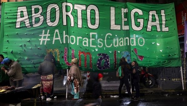 "A banner reads ""Legal Abortion - Now is when"" during a demonstration in favour of legalising abortion outside the Congress in Buenos Aires, Argentina, May 31, 2018."