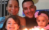 Pablo Villavicencio is seen here (top, right) with his wife, U.S. citizen Sandra Chica (top, left) and their two young daughters.
